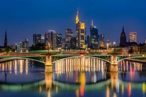 города, франкфурт-на-майне , германия, мост, река, здания, дома, ночной, город, небоскрёбы, germany, франкфурт-на-майне, frankfurt, am, main, майн, river