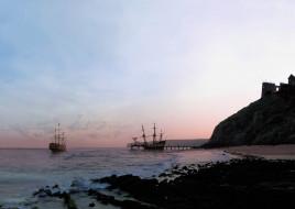 корабли, парусники, причал, море, берег