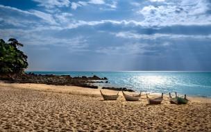 корабли, лодки,  шлюпки, море, пляж, песок, закат