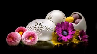 праздничные, пасха, ажурные, яйца, маргаритки