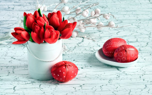 праздничные, пасха, тюльпаны, писанки