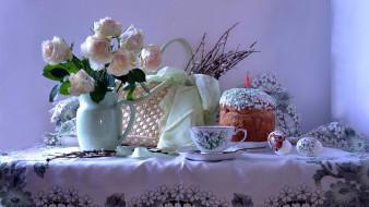 праздничные, пасха, верба, розы, кулич, писанки