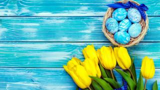 праздничные, пасха, тюльпаны, писанки, лента, бант