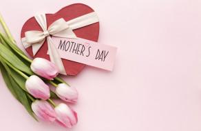 праздничные, день матери, тюльпаны, подарок, лента, бант, надпись