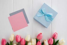 праздничные, подарки и коробочки, тюльпаны, подарок, лента, бант