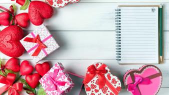 праздничные, день святого валентина,  сердечки,  любовь, сердечки, коробки, подарки, блокнот
