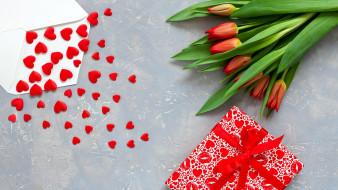 праздничные, день святого валентина,  сердечки,  любовь, тюльпаны, подарок, сердечки