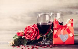 праздничные, день святого валентина,  сердечки,  любовь, розы, вино, подарок, сердечки