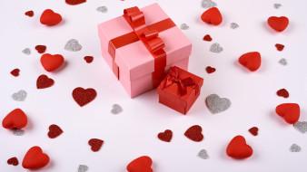 праздничные, день святого валентина,  сердечки,  любовь, подарки, сердечки, бант, лента