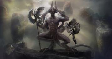 фэнтези, демоны, мужчина, фон, взгляд, существо, рога