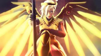 девушка, фон, взгляд, крылья