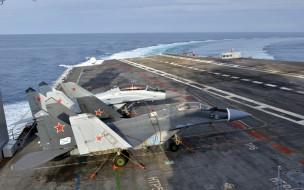 миг- 29куб, авиация, боевые самолёты, миг29, куб, истребители, палуба, авианосца, ввс, россии