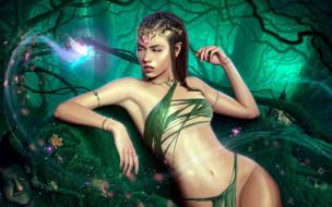 фэнтези, эльфы, девушка, фея, лес, гномы