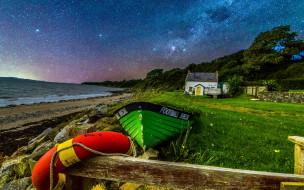 корабли, лодки,  шлюпки, море, шлюпка, ночь, звезды