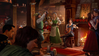 рисованное, люди, средневековая, таверна