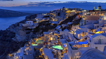 города, санторини , греция, вечер, огни, панорама