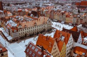 города, вроцлав , польша, панорама