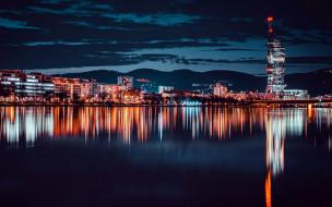 города, вена , австрия, река, вечер