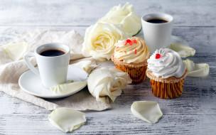 еда, кофе,  кофейные зёрна, розы, капкейки, кексы