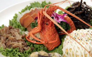 еда, рыбные блюда,  с морепродуктами, китайская, кухня, лобстер