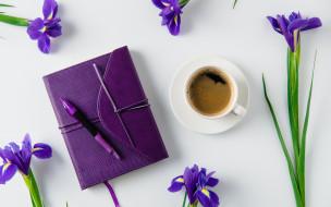 еда, кофе,  кофейные зёрна, ирисы, записная, книжка, ручка