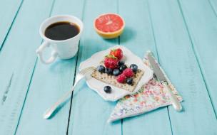 еда, разное, кофе, хлебец, грейпфрут, ягоды