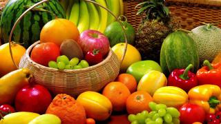 еда, фрукты и овощи вместе, ананас, арбуз, бананы, цитрусы, перец, виноград
