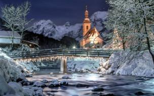 зима, река, мост, снег