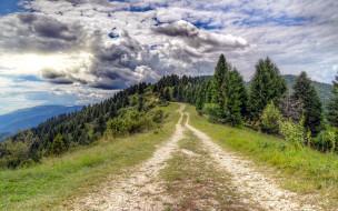 природа, дороги, горы, облака, дорога, проселочная
