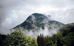 природа, горы, вершина, гора, туман