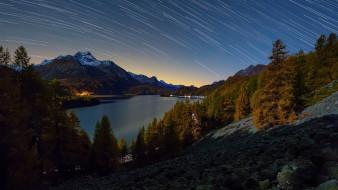 природа, реки, озера, горы, река, звездопад