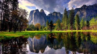 природа, реки, озера, горы, озеро, отражение, деревья