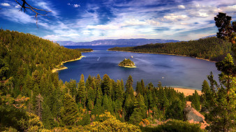 природа, реки, озера, залив, лес, островок