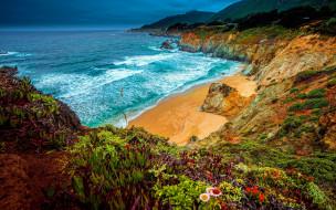 природа, побережье, море, пляж, горы