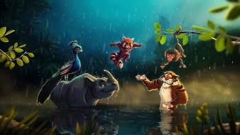 рисованное, животные, jungle