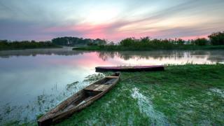 корабли, лодки,  шлюпки, река, закат