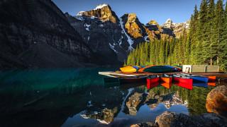 корабли, лодки,  шлюпки, горы, озеро, отражение