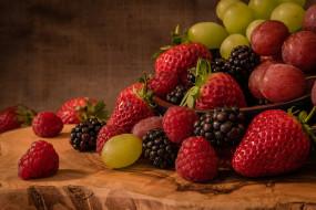 еда, фрукты,  ягоды, здоровый, клубника, натюрморт, свежие, питание