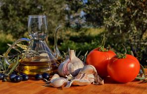 еда, разное, натюрморт, овощи, масло, здоровый, кухня, чеснок, помидоры, ингредиенты