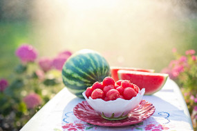 еда, арбуз, лето, питание, дыня, фрукты