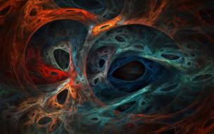 3д графика, абстракция , abstract, дыры, переплетения, цвета, паутина