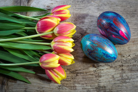 праздничные, пасха, тюльпаны, букет, весна, пасхальные, яйца, окрашенный, красочный, природы