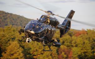 вертолет, черный, военная авиация, eurocopter ec145, небо, полет