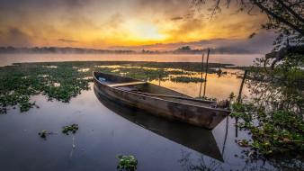 корабли, лодки,  шлюпки, закат, лодка