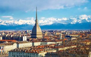 города, турин , италия, панорама