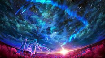 аниме, vocaloid, парень, девушка, пара, поле, цветы, закат, небо