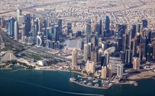 города, доха , катар, доха, городской, вид, небоскребы, бурдж, палм, тауэр, 1, 2, навигационная, башня, аль, бидда, торнадо, абдул, атта, современные, здания