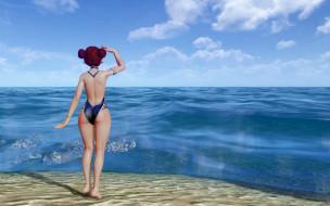 3д графика, аниме , anime, девушка, купальник, берег, море