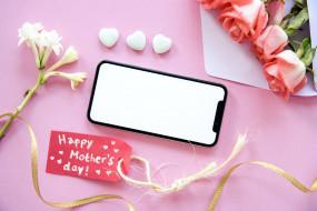 праздничные, день матери, розы, смартфон, надпись
