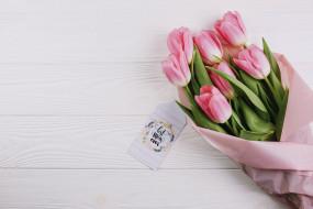 праздничные, день матери, тюльпаны, букет, надпись
